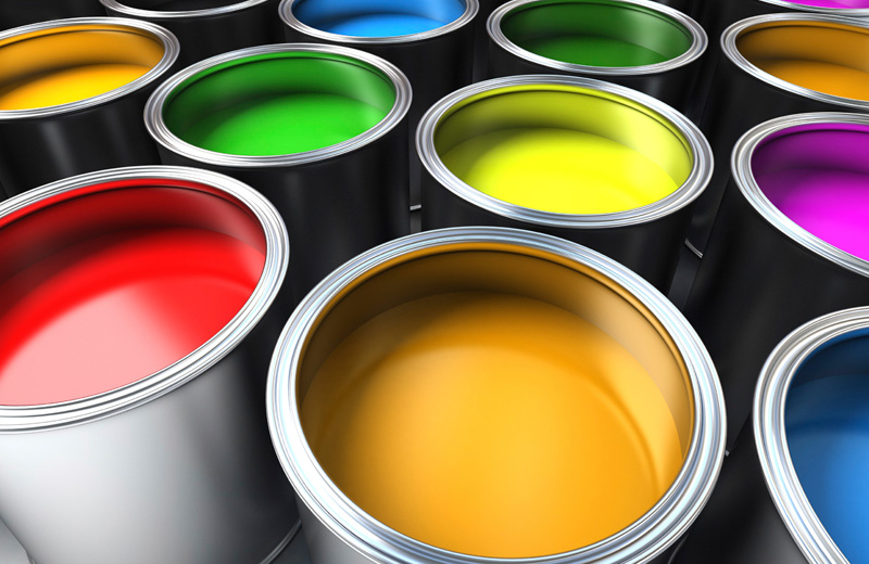 diverent buckets of colors for printing industry