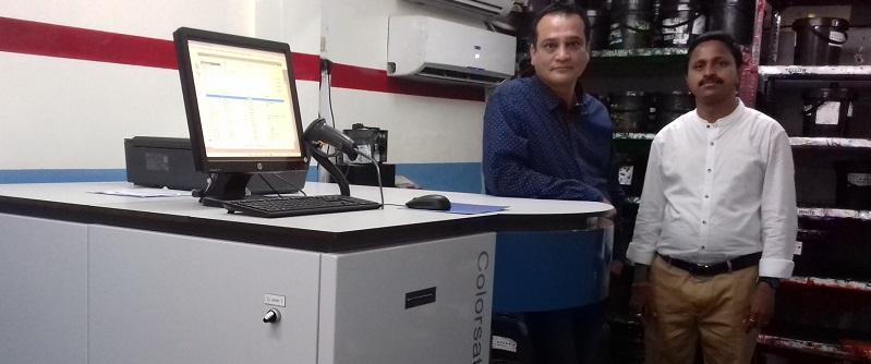 Mr Prasanna Sahu, and Mr Rajesh K Gawde with a GSE Colorsat