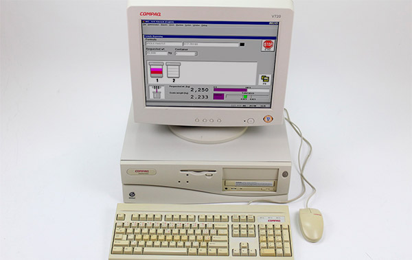 Ink dispensing software system on Compaq computer